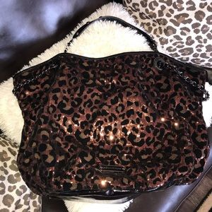 Betsy Johnson large sequin & velvet leopard tote